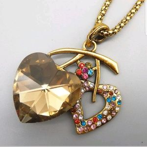 94b4c9187 Betsey Johnson Jewelry - Twany Glass Crytsal Heart Necklace by Betsey Johns